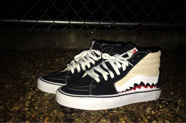 bfe706249d4c76 Vans Custom Old Skool Skate High Vans Bape Shark Teeth Custom Shoes ...