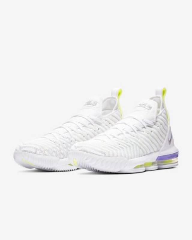 ec9f84d3fa80 Nike Lebron 16 White Hyper Grape Volt 8-14 Mens 2019