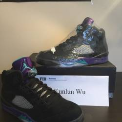 Nike air jordan 5 v black grap...