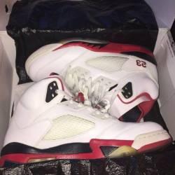 Jordan 5's black tongue fire reds