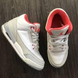 Air jordan 3 gs  white crimson...