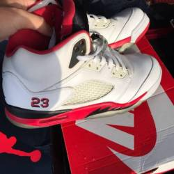 Jordan 5 fire red black tongue