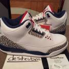 2016 Nike Air Jordan 3 True Blue 88 OG Retro III Size 8.5 White Cement Grey Tb3