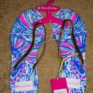 Lilly Pulitzer for Target Flip Flops Nosie Posey My Fans Floral Thongs Sandals